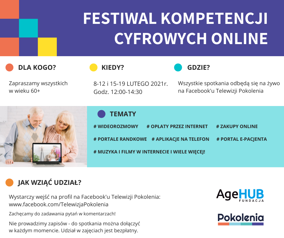 Zapraszamy napierwszy Festiwal Kompetencji Cyfrowych online wTelewizji Pokolenia